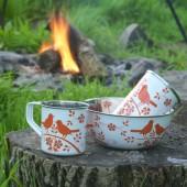 orange bird song camping set